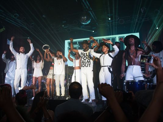 Janelle Monae and fellow artists/musicians perform HellYouTalmBout